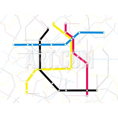 Subway Map with Grey Streets and Colored Tubes Print Wall Art By - Colored Maps