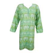 Mogul Indian Ethnic Rayon Printed Kurti Casual Party Wear Kurta Tunic Dress