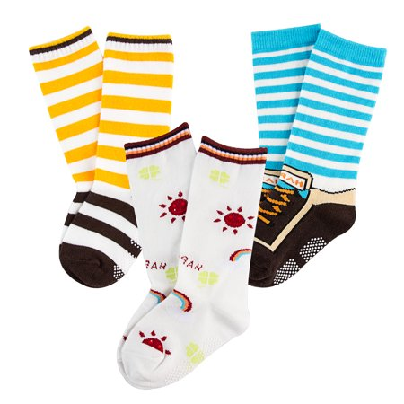 Lian LifeStyle Baby Boy's 3-Pairs-Pack Knee High Cotton Non-Skid Socks 6M-3Y One Size - Toddler Boy Knee High Socks