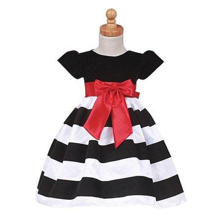 Girls Black Stripe Flocked Christmas Dress Baby Toddler Girls - Black Baby Girl