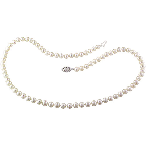 Miabella 5-6mm White Cultured Freshwater Pearl Sterling Silver Strand Necklace, 18