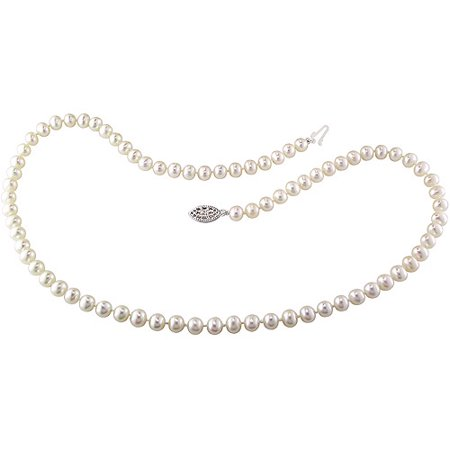 5-6mm White Cultured Freshwater Pearl Sterling Silver Strand Necklace, 18](White Pearl)