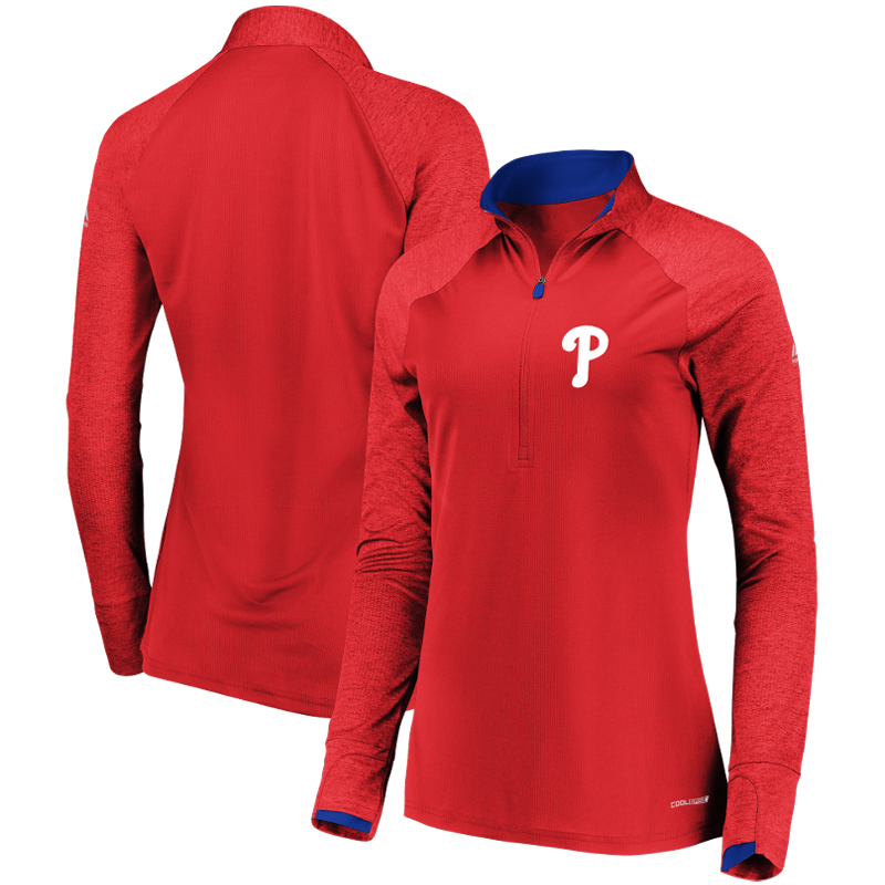 Philadelphia Phillies Majestic Women's Extremely Clear Cool Base Raglan 1 2-Zip Jacket Red by MAJESTIC LSG