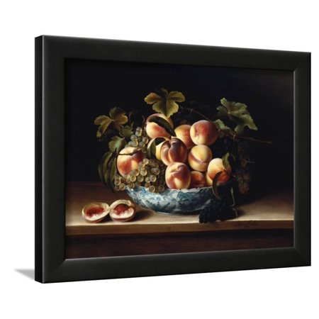 Peaches and Grapes in a Blue and White Chinese Porcelain Bowl Fruit Still Life, 1634 Framed Print Wall Art By Louise (Chinese Blue White Porcelain)