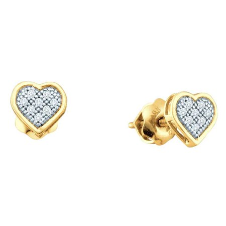 10k Yellow Gold Diamond Heart Stud Earrings Love Studs Round Pave Set Cluster Style Fancy 1/6 Cttw