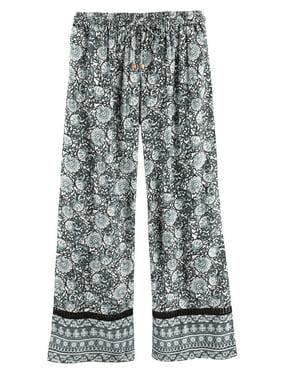 d326fe331d4 Product Image Women s Leaves   Flowers Lounge Pants -Pajama Bottoms Black  ...