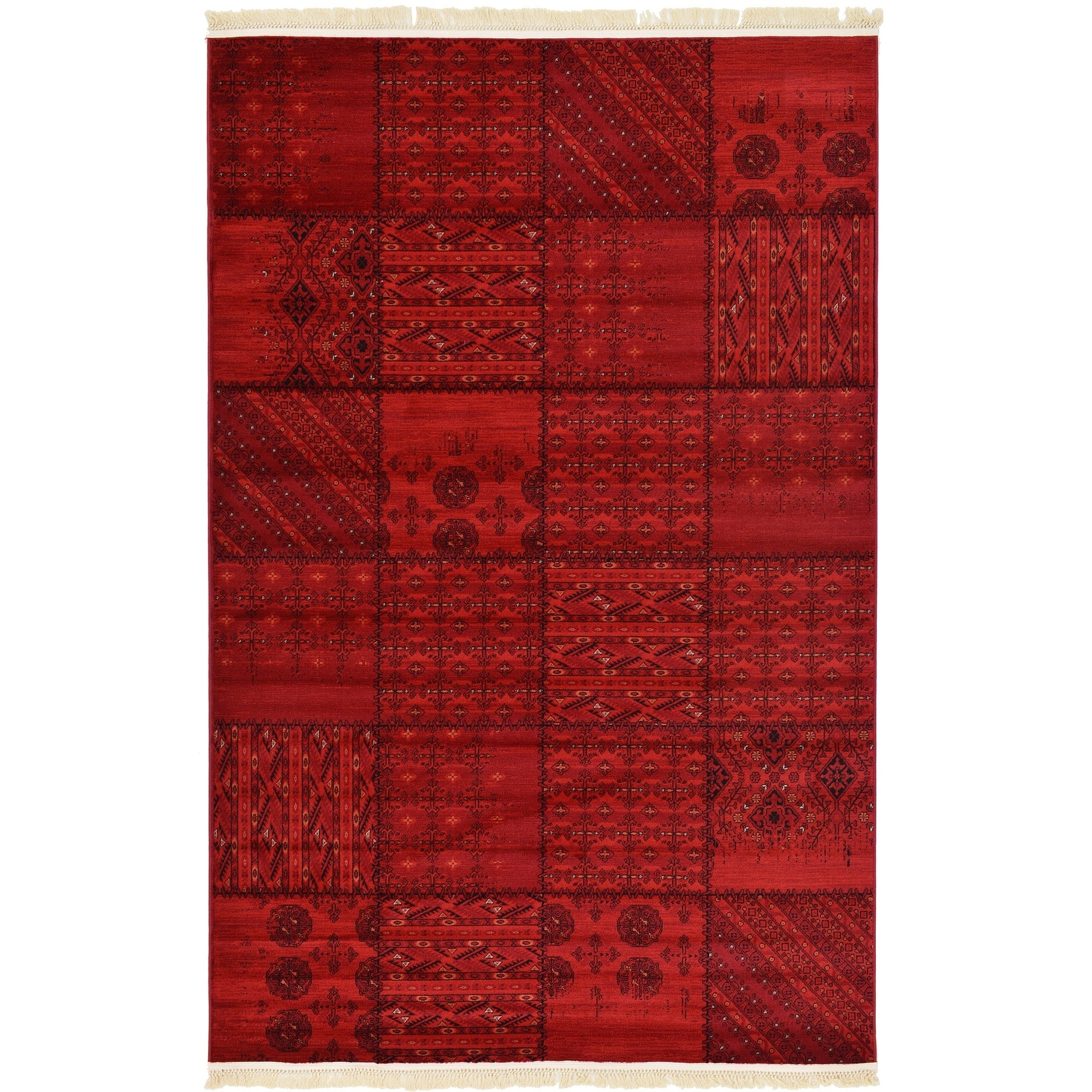 Unique Loom Turkish Bokhara Red Polypropylene Rug (6' x 8' 11)