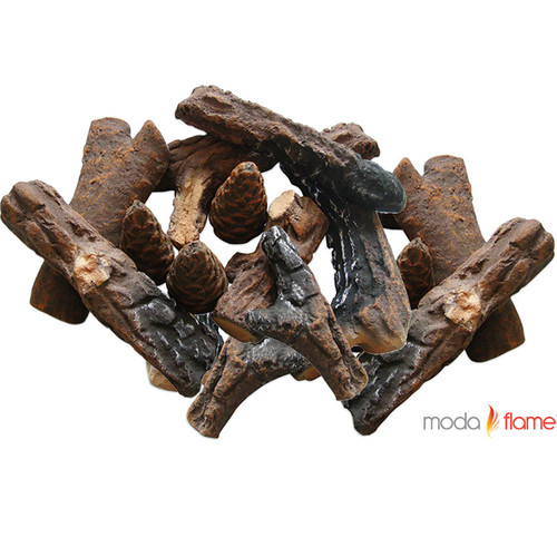 Moda Flame 18 Piece Ceramic Fireplace Wood Log Set