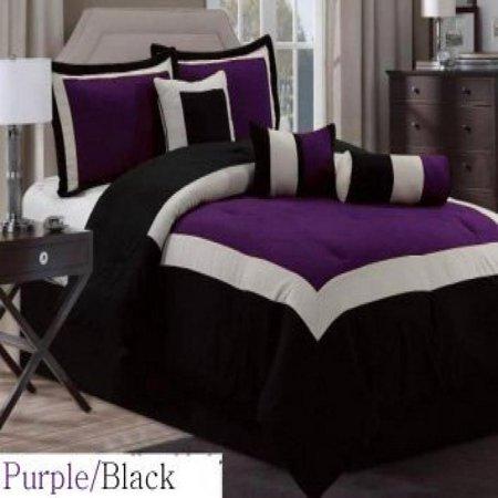 (7 Pc Modern Hampton Comforter Set BLACK / PURPLE bed in a bag - KING Size Bedding)