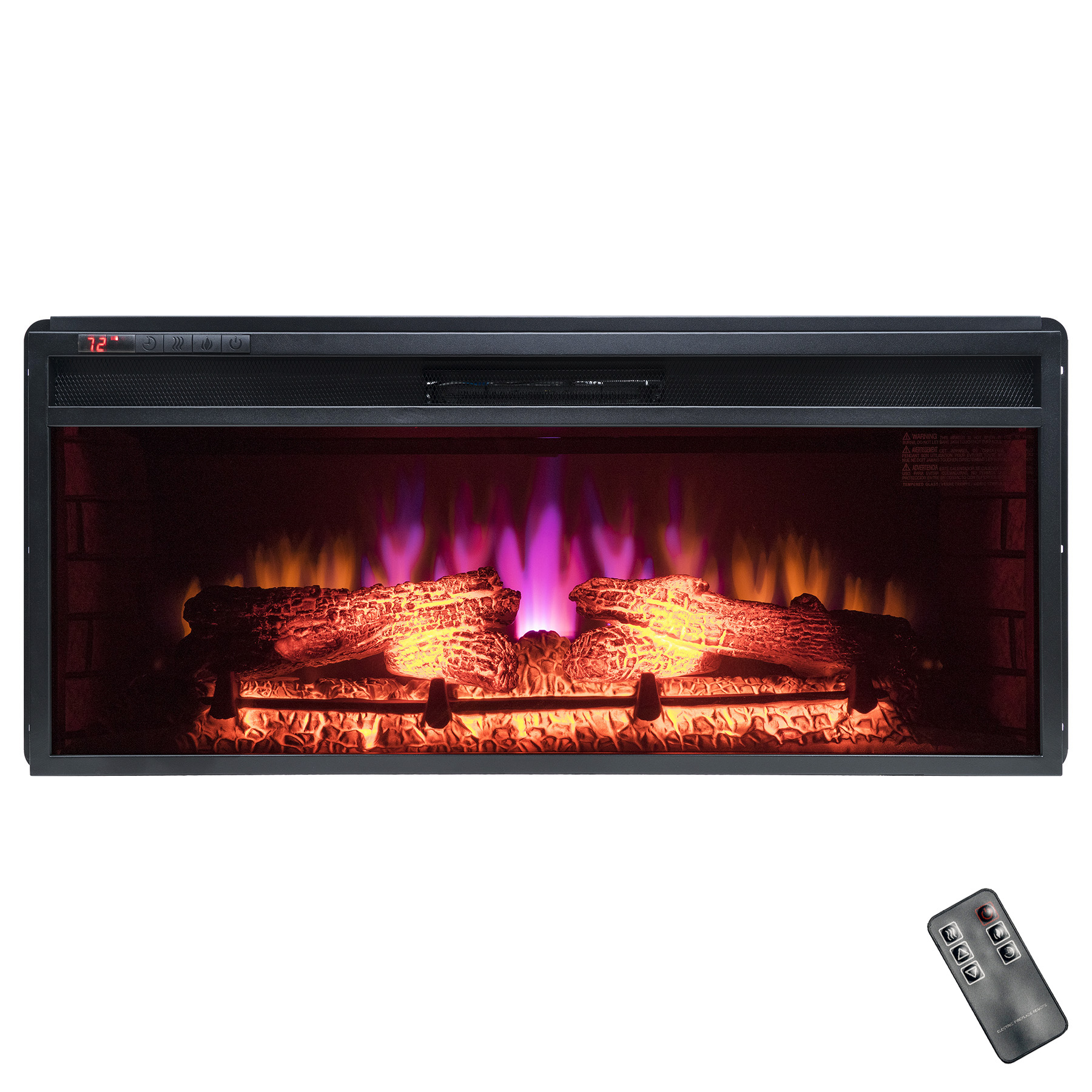 """AKDY FP0062 37"""" Push Button Control Black Finish Freestanding Electric Fireplace... by AKDY"""