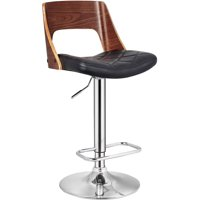Bentwood Contemporary Modern Stylish Wood Back Adjustable Swivel Bar Stool with Diamond Quilted Finish Curved Seat and Back, Walnut/Black