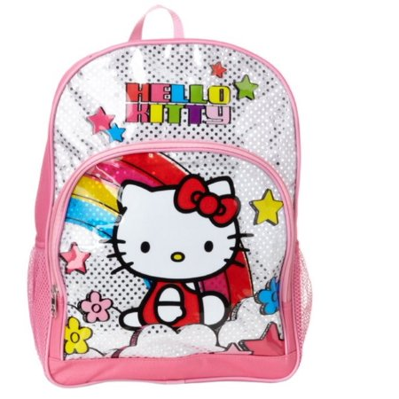 Backpack - Hello Kitty - Pink Underglass Shiny Foil Large School Bag New 826175