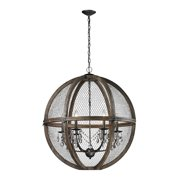 Renaissance Invention 6-Light Chandelier in Aged Wood and Wire - Round