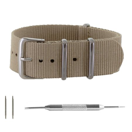 Khaki Tan Ballistic Nylon NATO Watchband + Spring Bar Tool (18, 20 & 22mm) (Xl Watch Band 22mm)