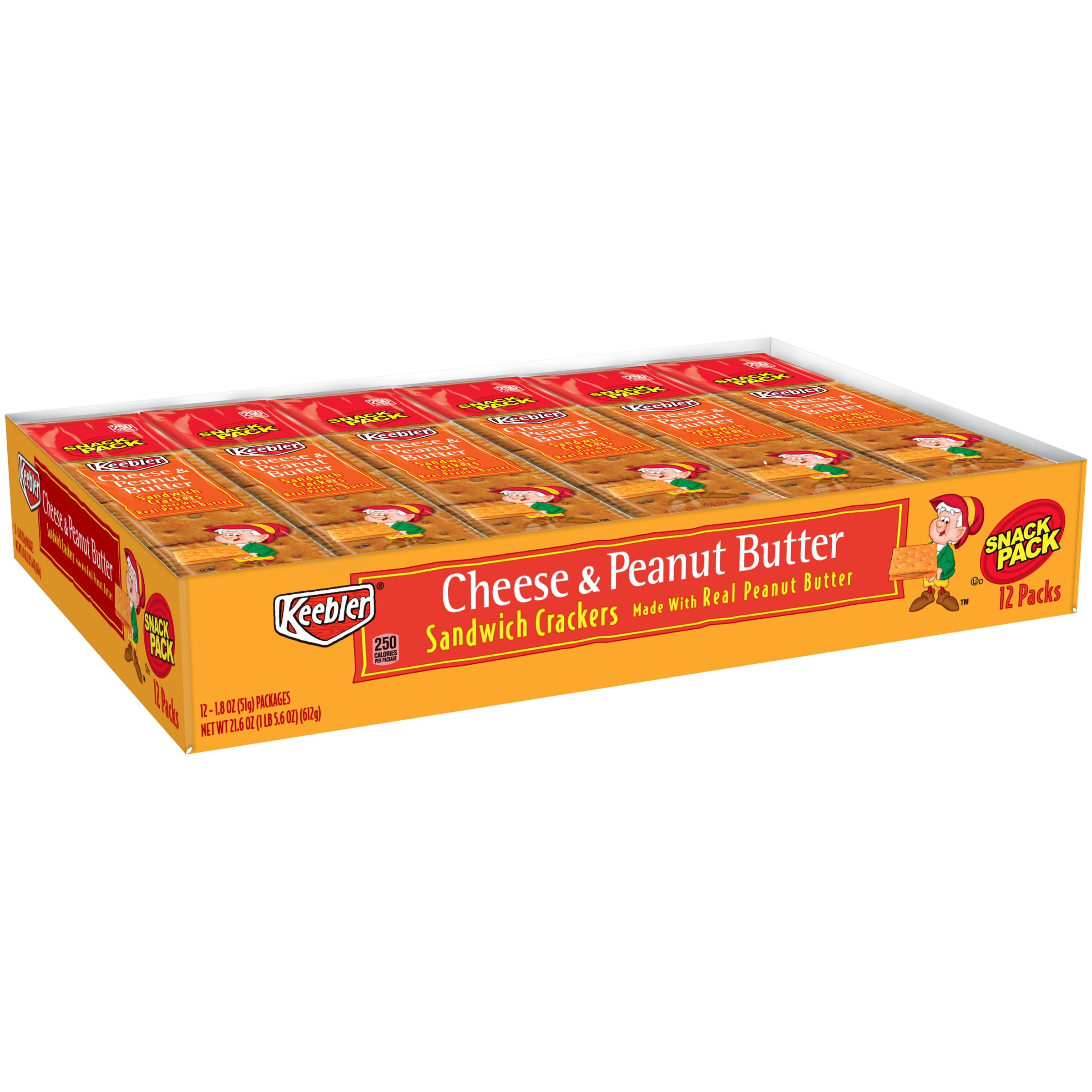 Keebler Cheese & Peanut Butter Sandwich Crackers Snack Pack, 1.8 Oz., 12 Count