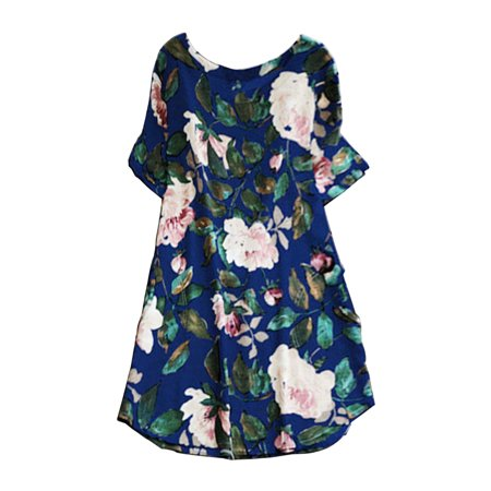 Short Sleeve Dress for Women Midi Dress Floral Print Summer Boho Casual Prom Party Loose Tunic Shirt Top