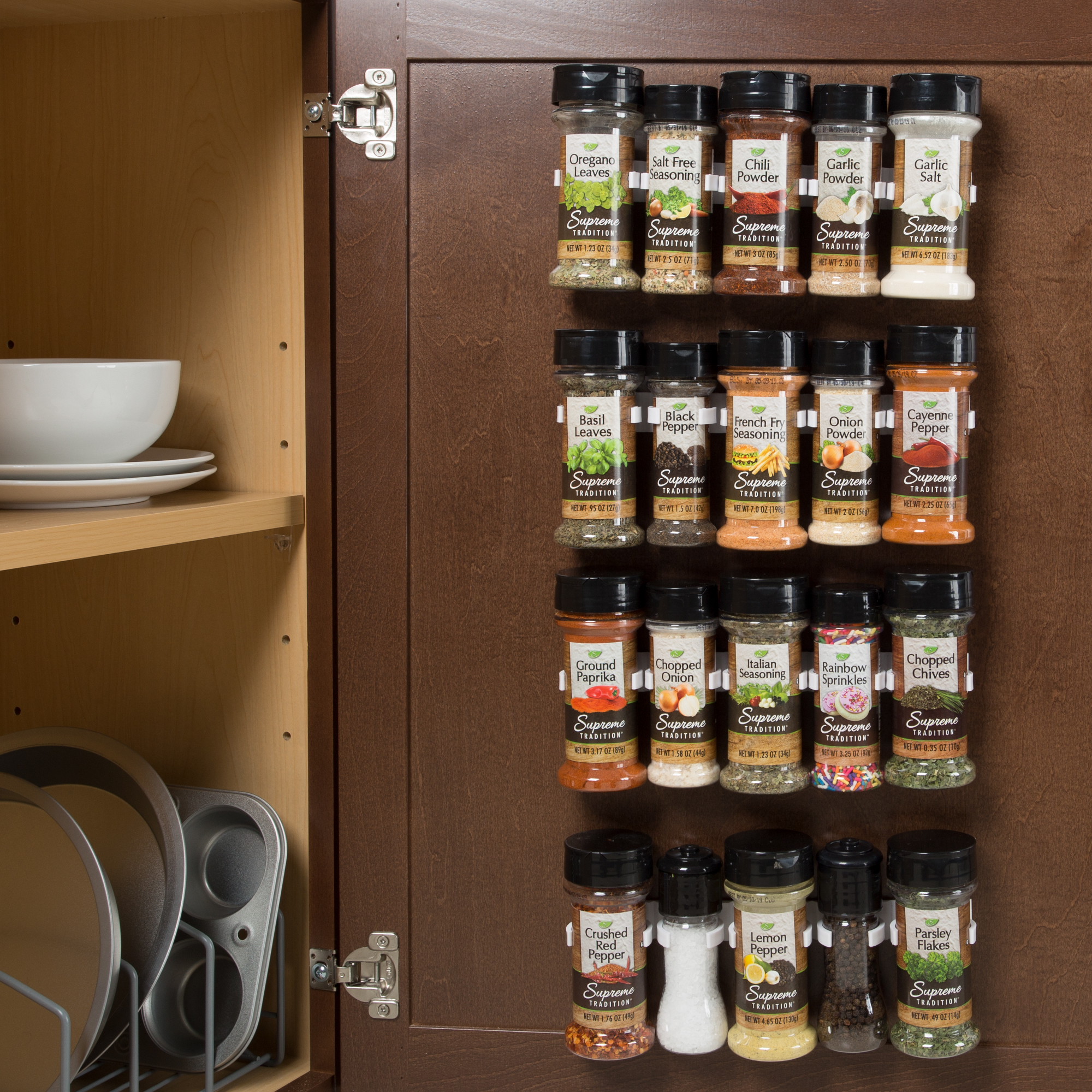 Spice Rack Organizer  Cabinet Gripper Clip Strips For Kitchen, Countertop  And Pantry Organization And