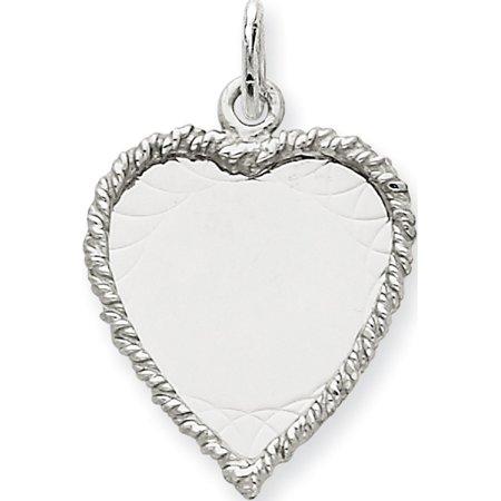 14k White Gold Etched Design .013 Gauge Engravable Heart (17x28mm) Pendant / Charm