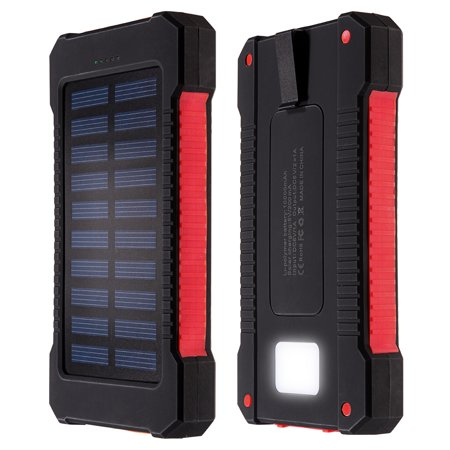 10000Mah Solar Charger Dual Usb Power Bank Phone Battery Flashlight Compass Red