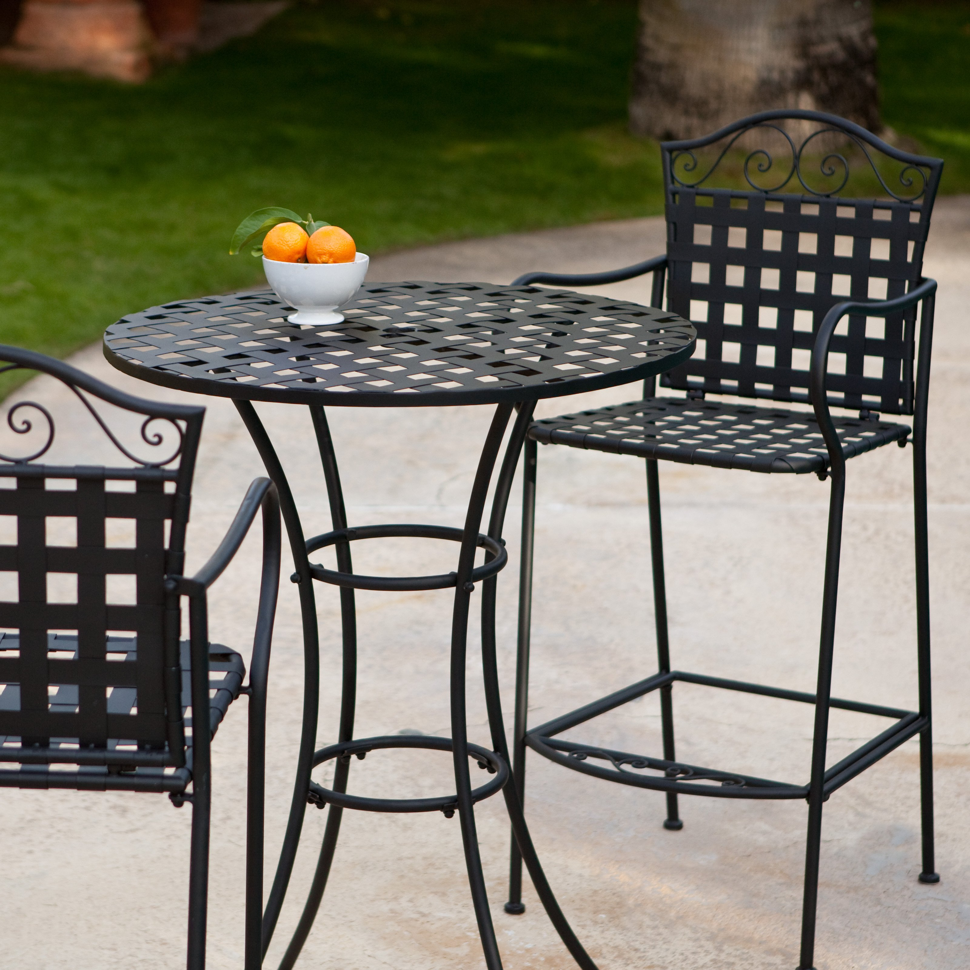 Belham Living Wrought Iron Bar Height Bistro Set by Woodard by
