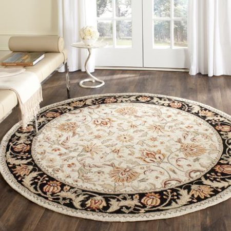 36 Round Hooked Rug - Safavieh  Hand-hooked Easy to Care Ivory/ Navy Rug (6' Round)