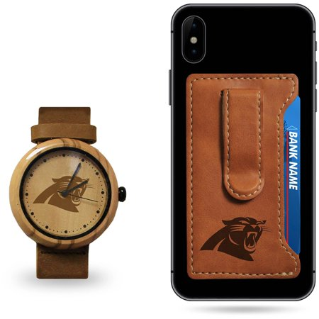Carolina Panthers Sparo Wood Watch and Phone Wallet Gift Set Carolina Panthers Leather