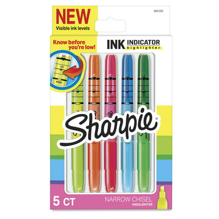 Sharpie Ink Indicator Stick Highlighters, Chisel Tip, Assorted Fluorescent, 5 Count