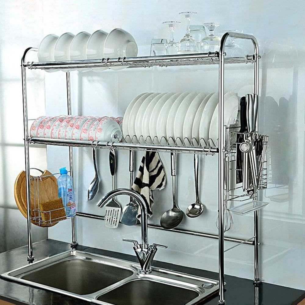 NEX Height Adjustable 2-Tier Nonslip Stainless Steel Dish Rack With ...
