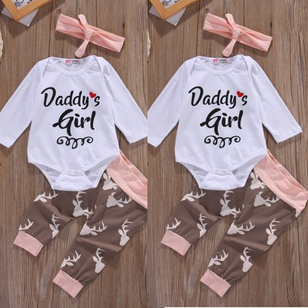 Newborn Toddler Infant Baby Girl Clothes Romper Bodysuit Bodysuit Outfits Set  Headband