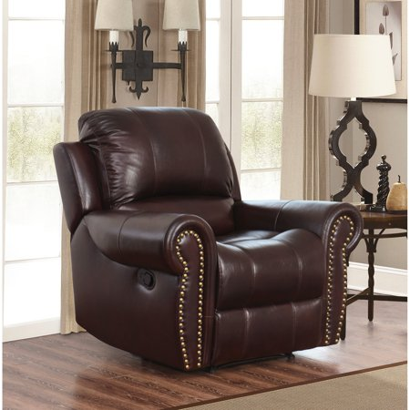 Incredible Abbyson Hogan Italian Leather Reclining Chair With Nailheads Gmtry Best Dining Table And Chair Ideas Images Gmtryco