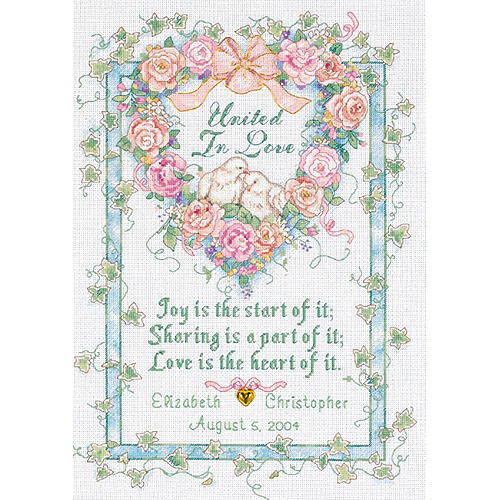 "United In Love Wedding Record-Counted Cross Stitch Kit, 10"" x 14"" 18-Count"