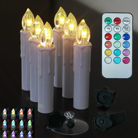 Xmas Tree Clip - Window Candles Flameless Taper Candles Led Christmas Tree Candles Light Electric Tealight Remote with Timer Clip Gift Party Wedding Holiday Tree Decoration 6/10 Packs