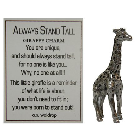 Always Stand Tall Zinc Giraffe Pocket Charm with Story Card by