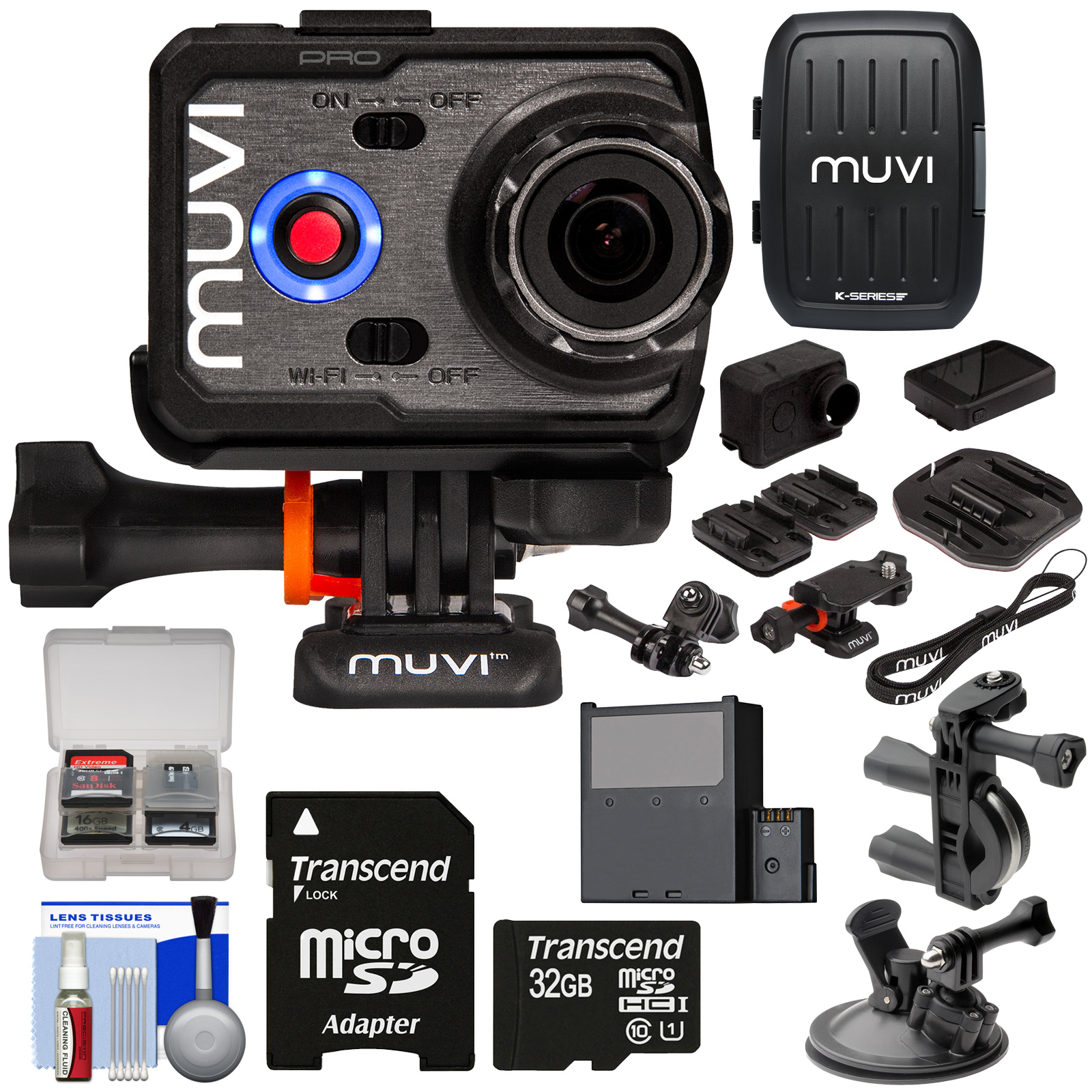 Veho MUVI K2 PRO Wi-Fi 4K HD Action Video Camera Camcorder with Handlebar & Suction Cup Mounts, LCD Display, & Cases + 32GB Card + Battery + Kit VCC-007-K2PRO-93223-Kit