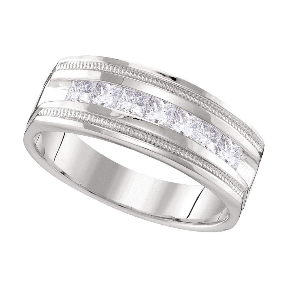 10kt White Gold Mens Round Diamond Single Row Milgrain Wedding Band Ring 1.00 Cttw