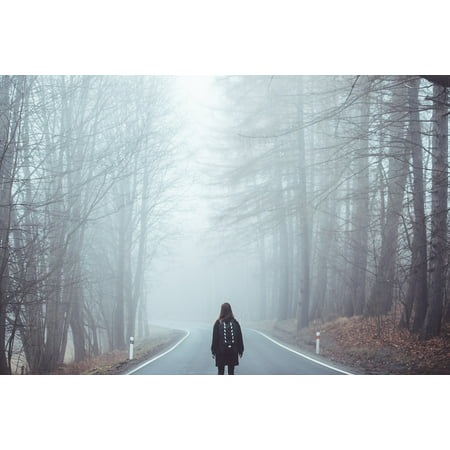 LAMINATED POSTER Eerie Mist Lost Scared Road Creepy Girl Fog Poster Print 24 x 36 (Creepy Girls)