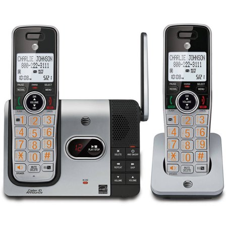 Caller Id Answering System (AT&T CL82214 DECT 6.0 Expandable Cordless Phone with Answering System and Caller ID, 2 Handsets, Silver/Black)