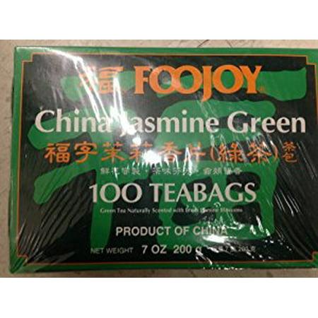 Foojoy Chine Jasmine vert Tea- 100 sachets de thé 7 oz / 200g (Pack de 1)