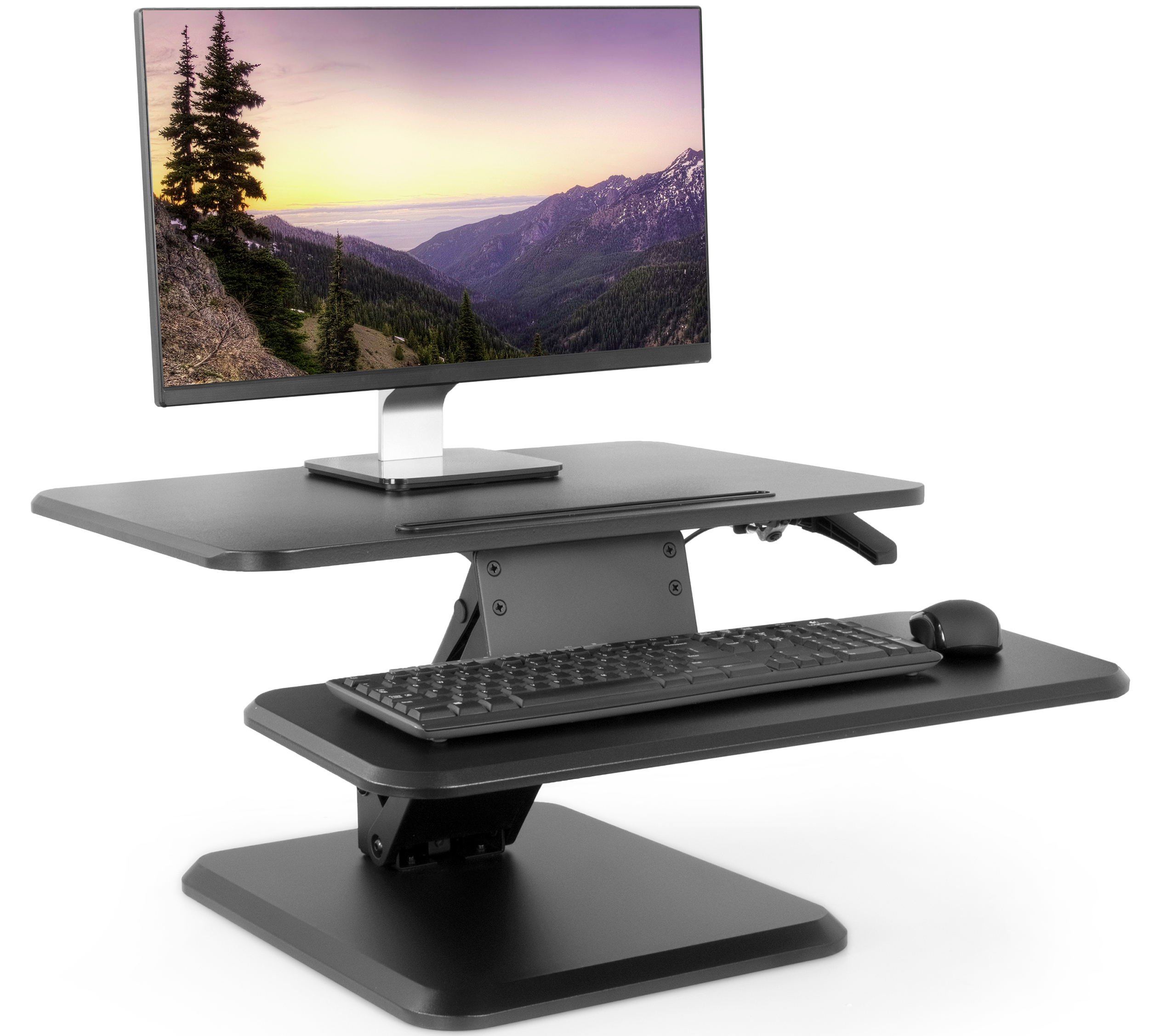 "VIVO Small Height Adjustable Standing Desk Gas Spring Monitor Riser - 25"" Tabletop Sit to Stand Workstation (DESK-V001G)"