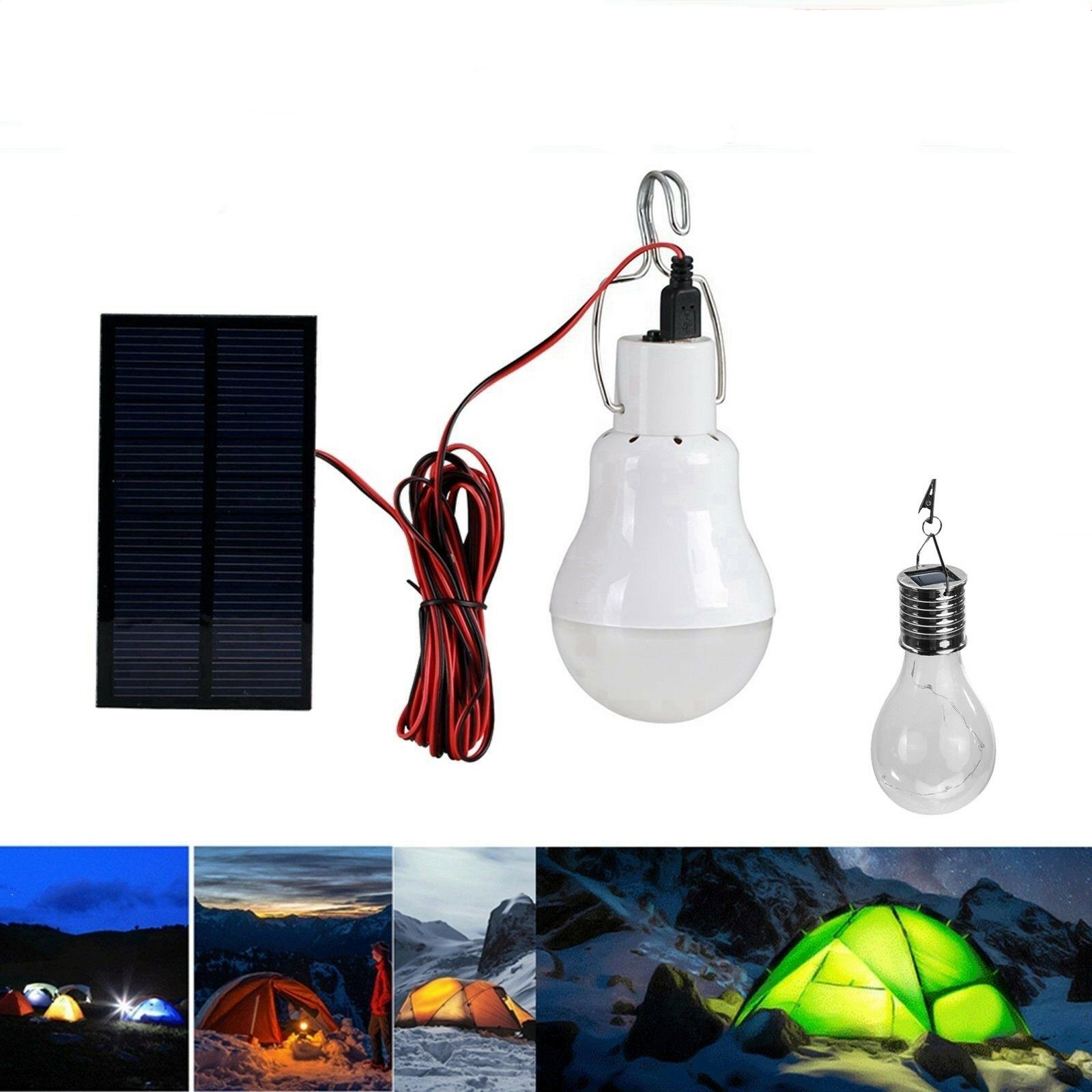 Bright Remote Solar LED Camping Lantern USB Rechargeable Bulb Ourdoor Tent Light