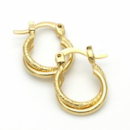 Gold-Tone Ladies Circle Twist Design and Matte Finish Children Hoop Earrings (14mm x 10mm)