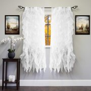 "Decotex 2 Piece Cascade Shabby Chic Sheer Waterfall Ruffle Window Curtain Panel Drapes (50"" X 63"", White)"