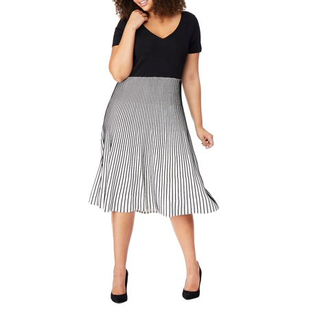 Plus V-Neck Plaited Colorblock Dress