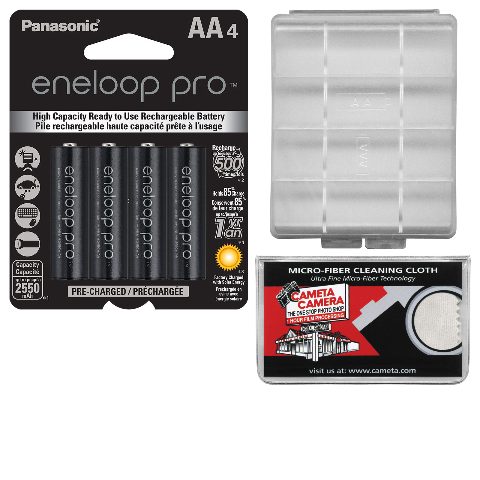 Panasonic eneloop Pro (4) AA 2550mAh Pre-Charged NiMH Rechargeable Batteries with Battery Case + Kit