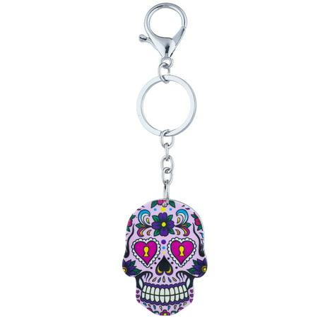 Lux Accessories Silver Tone Purple Bright Sugar Skull Day of the Dead Keychain