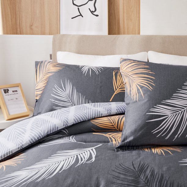 Peach Leaf Super Soft 100 Cotton 3 Piece Comforter Set With Shams King Copper Feather Walmart Com Walmart Com