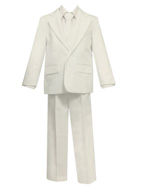 Little Boys Ivory 5 Pcs Shirt Vest Jacket Tie Pants Suit