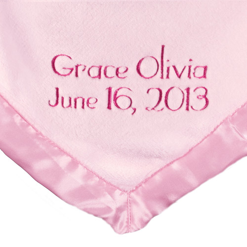 Personalized Satin Trim Pink Baby Blanket, Name and Date