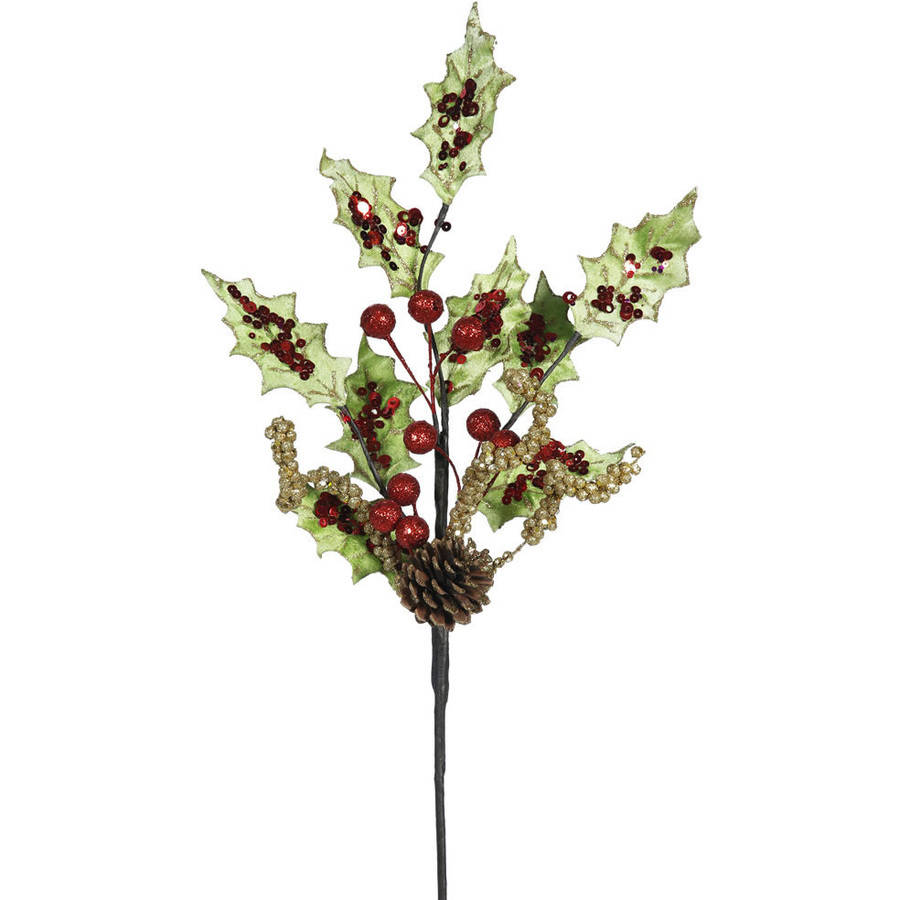"""Vickerman 22"""" Holly Berry and Sequin Artificial Christmas Spray, Pack of 4"""