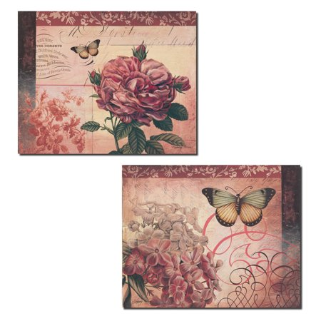 French Rose - Le Rose a Monte | Lovely French Pink Florals and Butterflies; Two 14x11in Poster Prints